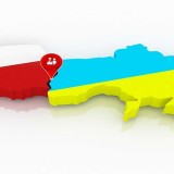 Map of Poland and Ukraine. 3d